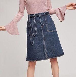 Levi's By Anthropologie Belted Denim A-Line Skirt